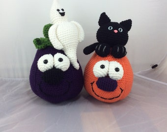 Boo Buddies crochet pattern - eggpant with ghost - pumpkin with black cat - halloween decor - amigurumi pattern - instant download pdf