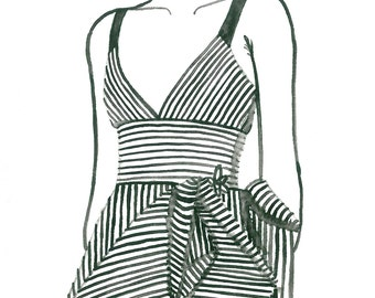 Black & White Striped Dress Watercolor Fashion Illustration