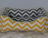 Handcrafted dog or cat bed. Made for your best friend. Style: Yellow & Gray Chevron