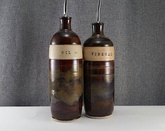 Made to Order(up to 3 weeks)* Ceramic olive oil cruet, stoneware oil pourer, pottery oil bottle, oil and vinegar ceramic bottle, Amber Run