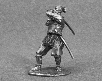 Japanese Samurai Toy Soldiers 1/32 Scale Sculpture  54mm Tin Metal Miniature Antique Action Figurine Statuette