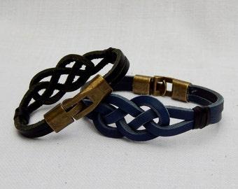 Mans Leather Bracelet, Mens Bracelet, Friendship bracelet, leather anniversary, lovers knot bracelet