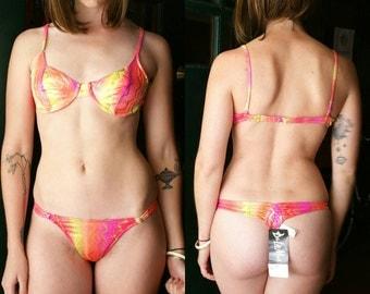 80s Thong Bikini Neon, Brazilian Bikini Vintage 2 Piece Swimsuit, Underwire Bikini Small, Vintage Thong Swimsuit 80s