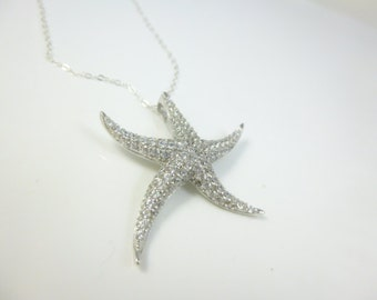Starfish Necklace, Sterling Silver Starfish Pendant, Large Starfish Necklace, Beach Jewelry