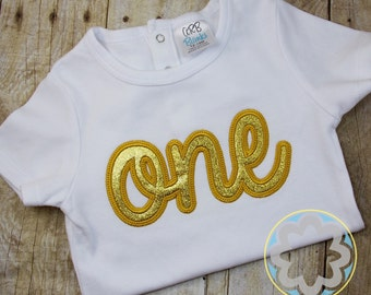 Gold glitter ONE or TWO Cursive Themed Birthday Party Shirt or Bodysuit, First Birthday Pictures, Second Birthday Pictures