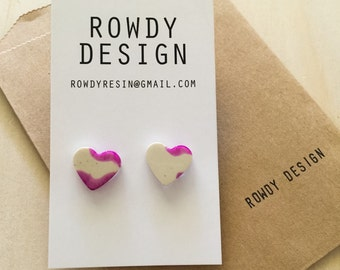 Heart Stud Earrings - Purple and Beige
