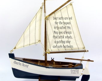 Personalised christening, baptism, dedication, etc gift, small model sail boat, nautical theme.  22cm