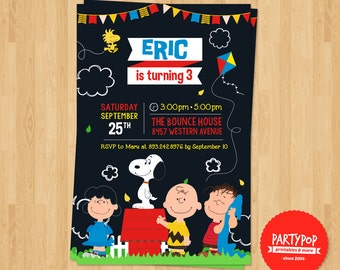 Personalized Snoopy and Friends Party Invitation (digital file)