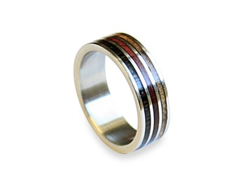 Titanium Ring with three types of Wood Inlay, Mens Ring, Womens Ring, Mens Band, Wooden Ring