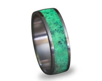 Glow In The Dark Ring, Titanium Men's Ring, Lapis Lazuli and Glow In The Dark Powder Ring