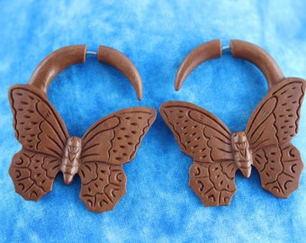 Hand Carved Butterfly Fake Plugs - Fake Gauge Butterfly Earring Fake Stretched Ears -   Fake Gauge Plug - Regular pierced ears A054