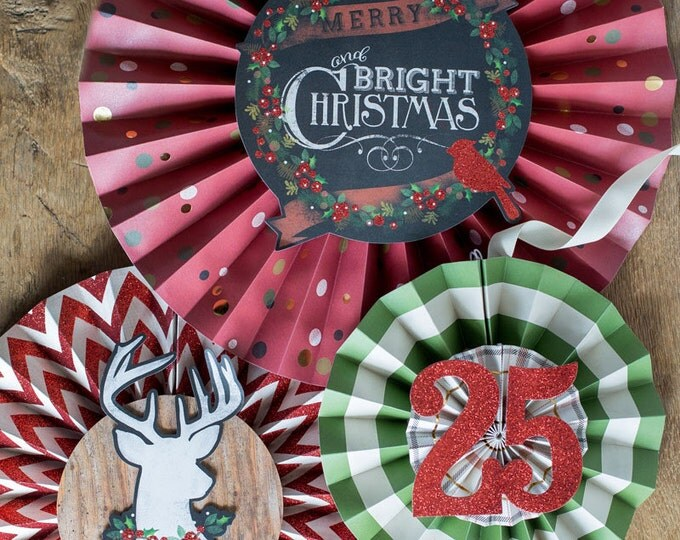 Christmas Party Decor SALE, Rosettes Backdrop, 5 Christmas Rosettes, Paper Medallions, Red, Green, Gold, White, Holiday Decor, HYP108