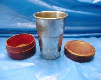 Vintage Expandable Stainless Steel Folding cup with leather case
