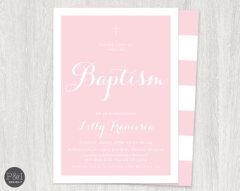 Baby Boy or Girl Baptism / Christening Invitations / DIY/ Printable