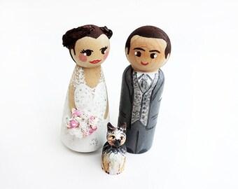 Peg doll wedding - married to dog wedding figurines
