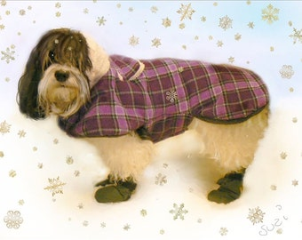 Warm Plaid  Winter dog Coats / Plaid Warm Dog Coats / Winter Dog Coats / Small Dog Coats / Havanese Coat