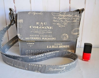 Grey cross body bag, gray messenger, french script bag, small satchel