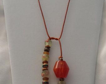 Amber Trade Beads Leather Cord Necklace