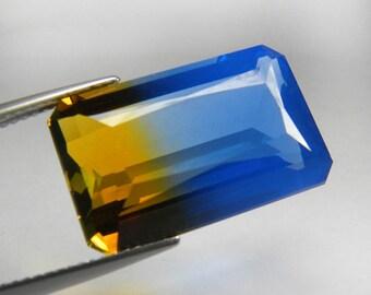 19.30 ct. Big Size Octagon Emerald Cut Bi-Color Yellow & Blue Ametrine Quartz Gem