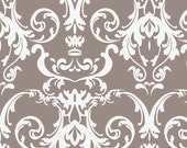 Gray Damask Fabric, Halle Rose C4182 Gray, Riley Blake, Lila Tueller, Gray & White Damask Quilt Fabric, Cotton Damask Yardage