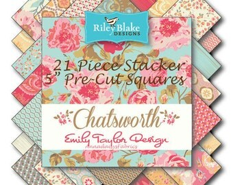 """Riley Blake Chatsworth Stacker, 21 Pre-Cut 5"""" Squares, Charm Pack Style, Floral Pre-Cut Fabric Bundle, Riley Blake Stacker, Cotton Fabric"""
