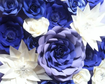 Set of Paper Flowers in Bluish Purple colors