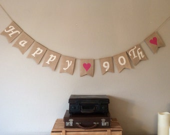 90th Birthday Bunting Banner. Vintage Hessian Rustic