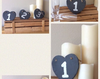 Wedding Party Slate Heart Table Numbers 1 - 10 Vintage Rustic Shabby Chic