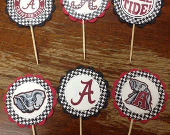 Alabama Crimson Tide Cupcake Toppers,Quantity of 12,Roll Tide,Tailgate Party,Iron Bowl,Football Party,Sorority, Fraternity, Graduation Party