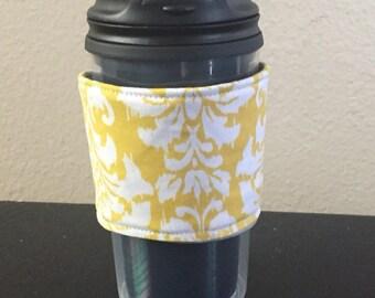 Yellow Damask Reusable Coffee Sleeve