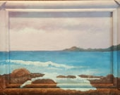 Colorful Seascape 5 x 7 Miniature Original Infinity Frame Acrylic Painting Rocky Coast Pink Sky Blue Sea Ocean Theme Nautical Wall Art