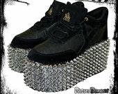 Studblast Spiked custom made YRU platform shoes trainers made to order  pastel goth,punk, deathrock