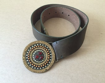 Vintage bohemian style genuine  leather belt