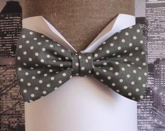 Grey, beige spot bow tie, bow ties for men, men's bow tie, pre tied or self tie bow tie