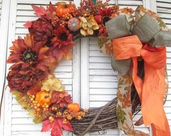 Fall Wreath, Fall Door Wreath, Fall Grapevine Wreath, Fall Floral Wreath, Fall Door Wreath