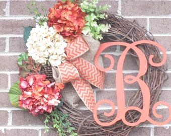 Initial Wreath, Fall Grapevine Wreath, Fall Grapevine Hydrangea Initial Wreath,Fall Door Wreath, Grapevine Door Wreath