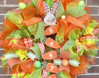 Easter Wreath, Easter Mesh Wreath, Easter Door Wreath, Spring Wreath, Easter Bunny Wreath