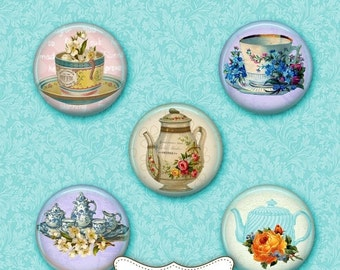 80 % off SaLe Digital sheet Shabby Chic TEA PARTY 1 inch collage sheet cup tea download and print for pendants magnets glass tiles stickers