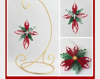 DIY Pattern: Cross and Poinsettia Ornaments; Paper Filigree/Quilling; Husking; Comb Quilling