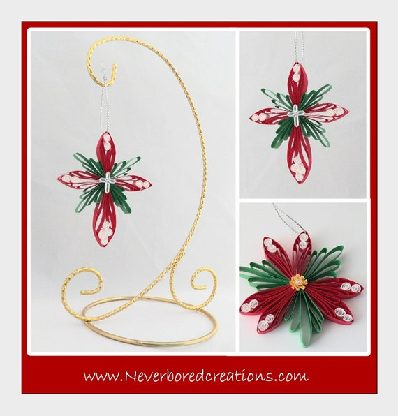 DIY Pattern: Cross and Poinsettia Ornaments; Paper Filigree/Quilling ...