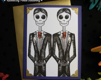 Groom + Groom in 'Gilded Cobalt' / Calavera Gay Wedding Handmade Greeting Card