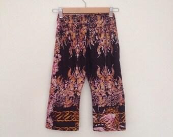 Handmade Girls trousers // African wax batik // summer floral // 3 T years UK