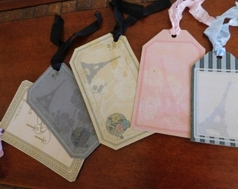 Eiffel Tower Gift Tags, Large Gift Tags, Paris Party Favors, Set of 5 Vintage Like Tags