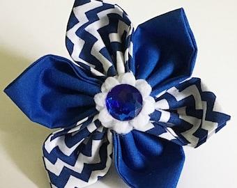 Blue  & White Chevron Flower for Girl Dog or Cat Collar