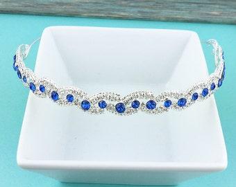 Blue Bridal Headband, Swarovski crystal sapphire rhinestone wedding headband, bridal hair accessories wedding custom bridal tiara 248233432