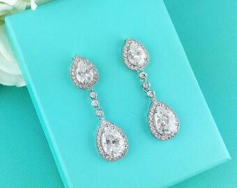 Wedding Bridal Earrings, Pear cubic zirconia CZ jewelry, wedding earrings, bridal jewelry, wedding earrings, bridesmaid jewelry, earrings