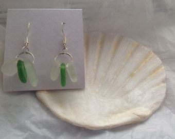 Triple seaglass earrings