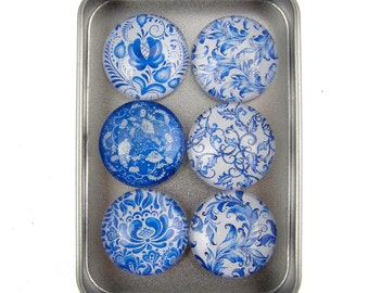 Set of Six Magnets Blue Floral in Tin Box