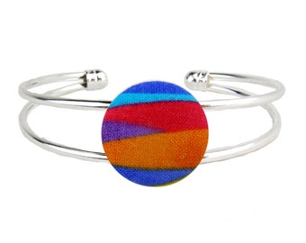 Silver Cuff Bracelet Rainbow Adjustable