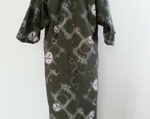 Vintage Kimono Robe cotton print for unisex kids Size 9-10 year,125-135 cm.